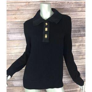 Ralph Lauren Sweater Collared Gold Button Cotton
